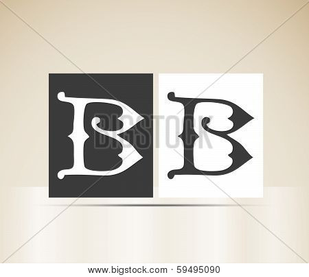 Vector letter B sign alphabet