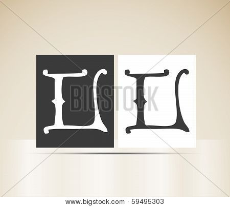 Vector letter L sign alphabet