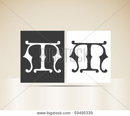 Vector letter M sign alphabet