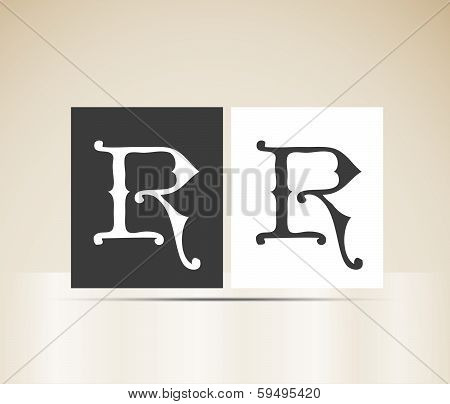 Vector letter R sign alphabet