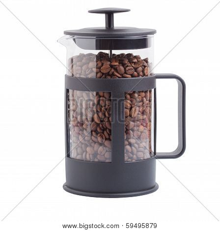 French press with coffee grains on the isolated background
