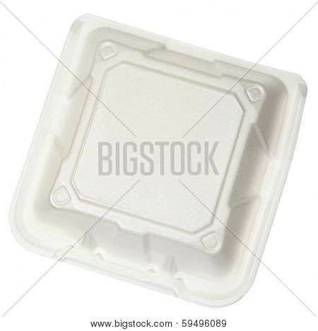 Top View Closed Styrofoam Food Container isolated over white.