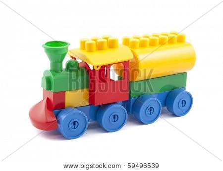 Colorful toy train with clipping path isolated on white