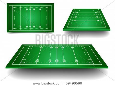 detailed illustration of rugby fields with perspective, eps10 vector