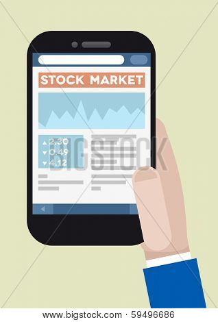 minimalistic illustration of a smartphone with running stock market application