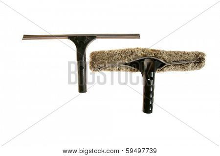 Genuine well used Window Washing Window Brush and Window Squeegee combination set isolated on white. Window Washers help keep your windows clean so you can enjoy the view from your home or building