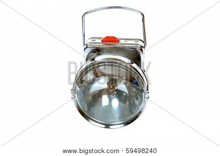 A Genuine Vintage Battery Operated Miners Light. Miners lights help Coal, Gold, Diamond and Other Miners and Explorers See in the Pitch Black of deep inside caves and mines. Isolated on white for you
