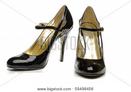 black High Heels Shoes - Front and Side View