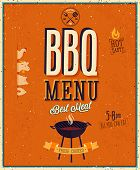 stock photo of bbq food  - Vintage BBQ poster - JPG