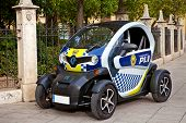 VALENCIA, SPAIN - JANUARY 14, 2014: Renault Twizy police car on street of Valencia. This is ultra-co