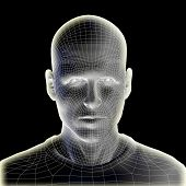 image of fiction  - Concept or conceptual 3D wireframe human male head isolated on black background - JPG