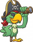 stock photo of spyglass  - Cartoon pirate parrot looking through a spyglass - JPG