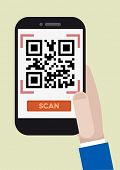 minimalistic illustration of hand holding a smartphone with a running QR-Code scan application, eps1