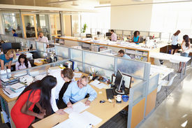 foto of fifties  - Interior Of Busy Modern Open Plan Office - JPG