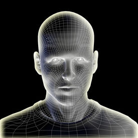 picture of cyborg  - Concept or conceptual 3D wireframe human male head isolated on black background - JPG