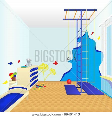 Children's Room With A Bed And Chest Of Drawers