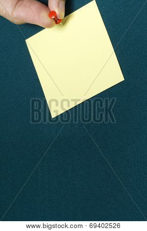 Yellow Paper Note With Pushpin