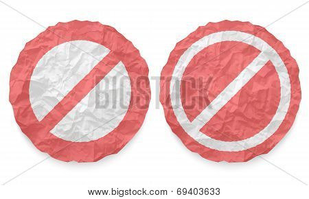 Two Icons With Texture Crumpled Paper And Ban Symbol