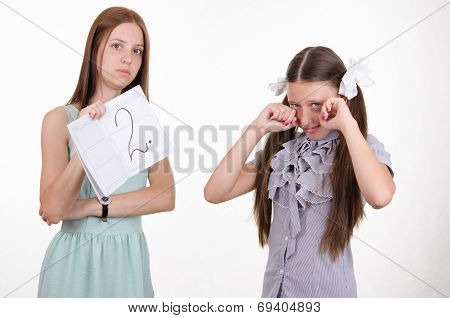 Schoolgirl Crying Because Of Two Entries