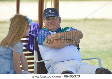TSELEEVO, MOSCOW REGION, RUSSIA - JULY 26, 2014: Alexis Rodzianko, the President of Moscow Polo Club during the British Polo Day. Tseleevo Golf & Polo Club hosts the event for the second time