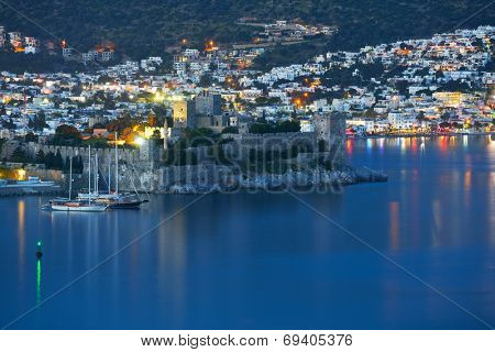 BODRUM, TURKEY - MARCH 15, 2014: Night view to the St. Peter's castle. Built in XV century, now the castle housed the Museum of Underground Archeology