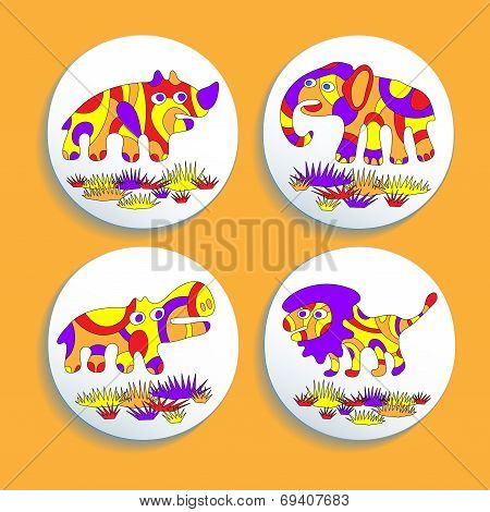 Set Of Buttons With Psychedelic Animals Of Africa