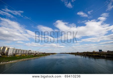 Wien River with blue sky In Vienna