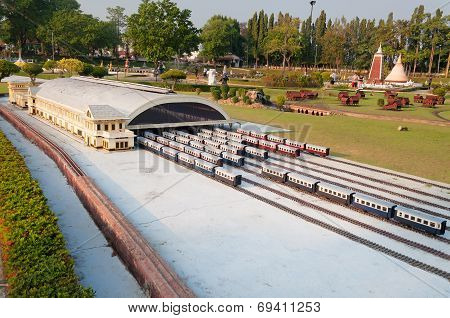 Bangkok Railroad Station In Mini Siam Park