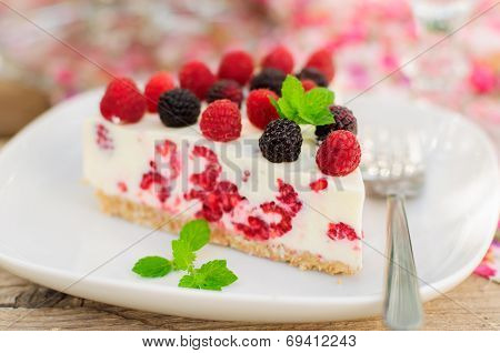 A Piece Of No-bake Raspberry Cheesecake