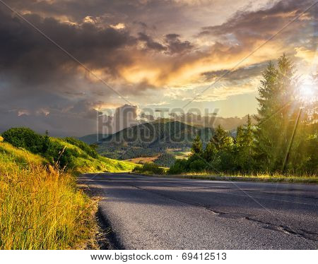 Going To Hight Mountains At Sunset