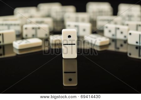 White Dominoes Showing Leader Or Winner