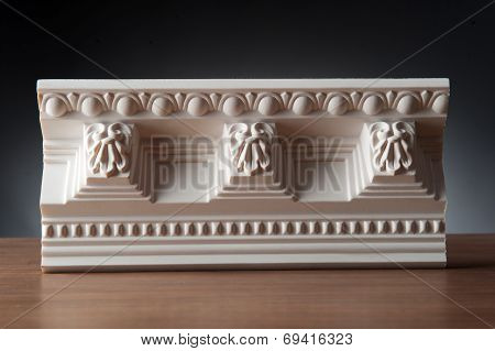 White elements of interior decoration, wall design