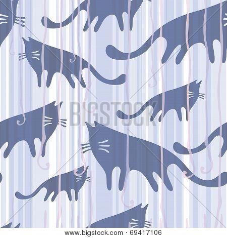 Seamless Pattern Cats By Rain