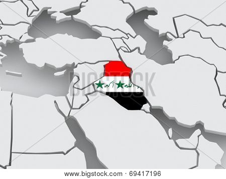 Map of worlds. Iraq. 3d