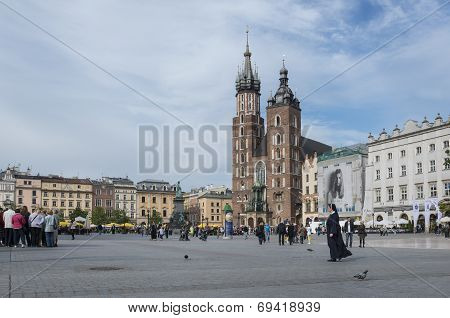 St. Mary's Church In Historical Center Of Krakow Town In Poland