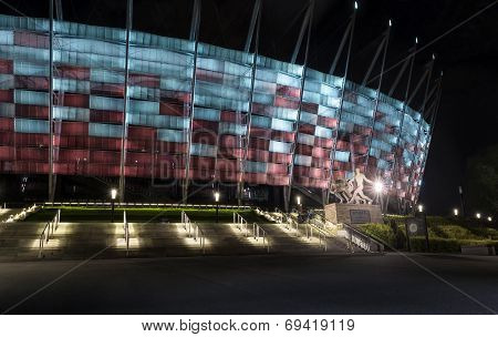 Entrance To National Stadium In Warsaw At Night.