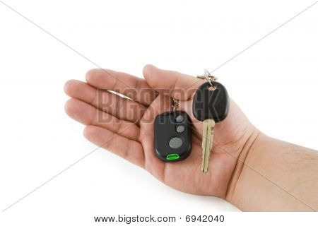 Hand Holding Key And Car Alarm System