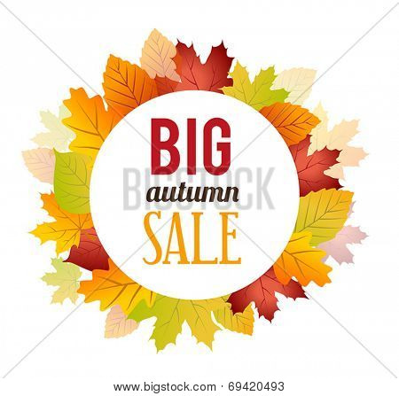 Autumn Sales Banner - Poster with Leaves