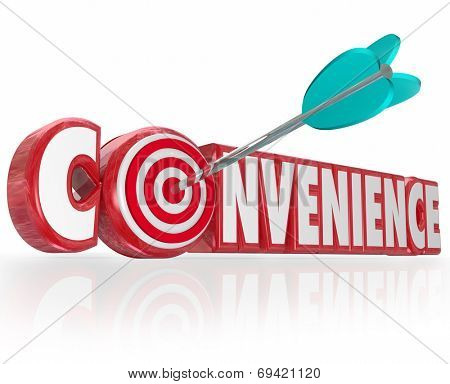 Convenience word in red 3d letters and an arrow hitting a target in the O