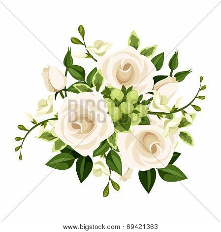 Bouquet of white roses and freesia flowers. Vector illustration.
