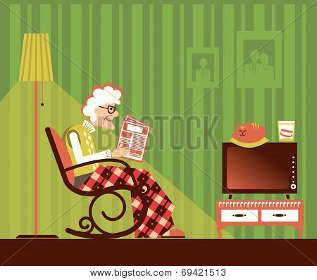 Old Woman Sitting And Reading Newspaper