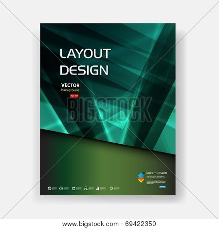 Cover brochure abstract design blue background, template design, vector illustration