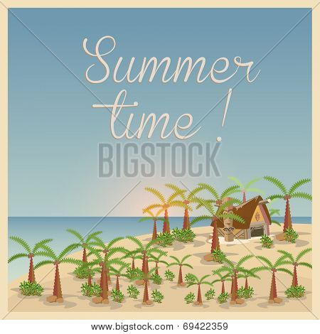 Summer background in retro style, easy all editable