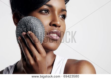 Gorgeous Black Woman Clean Her Skin