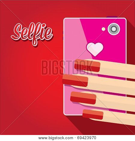 Taking Selfie Photo on Smart Phone concept on red