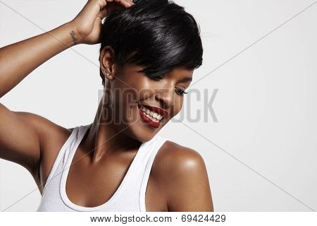 Pretty Black Woman Is Smiling
