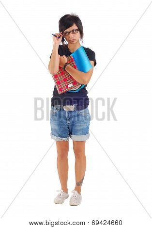 Female Student With Red Folder, Looking Distrustfully Aside, Isolated On White