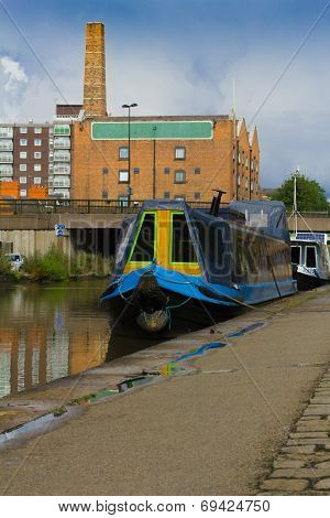Boats moored on the canal in the city centre