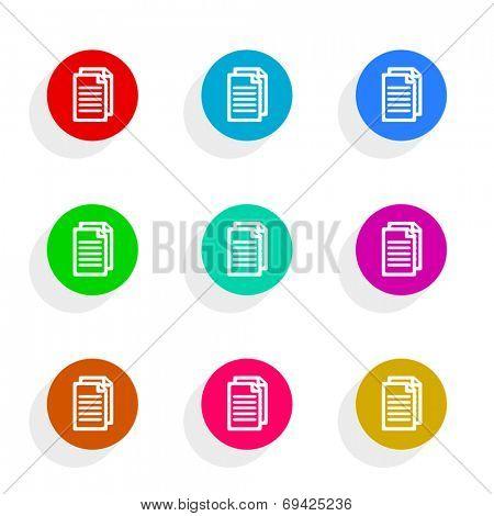 document flat icon vector set