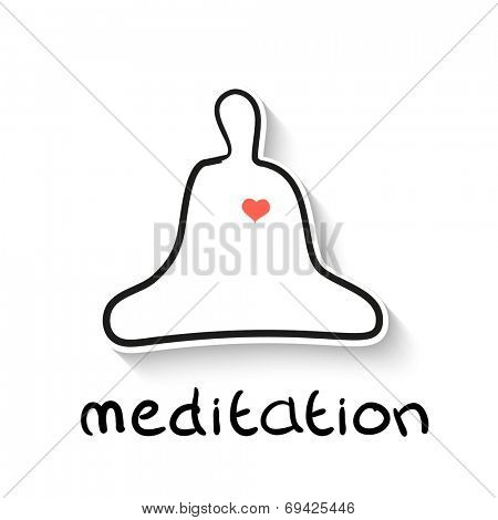 Meditation - a linear outline illustration - the native character of man in meditation asana - lotos, with the heart. Vector picture.